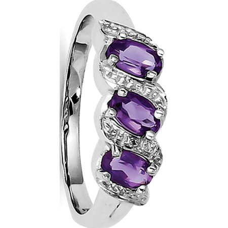 Sterling Silver Rhodium Amethyst & Diamond Ring - image 2 de 2