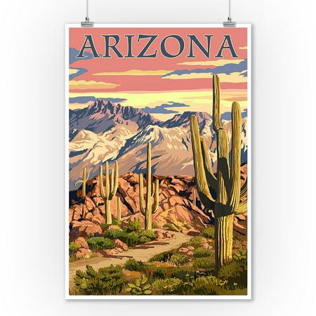 Arizona - Desert Cactus Trail Scene at Sunset - Lantern Press Artwork (9x12 Art Print, Wall Decor Travel Poster)](Desert Scenes)