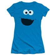 Sesame Street Cookie Monster Face Juniors Short Sleeve Shirt Turquoise
