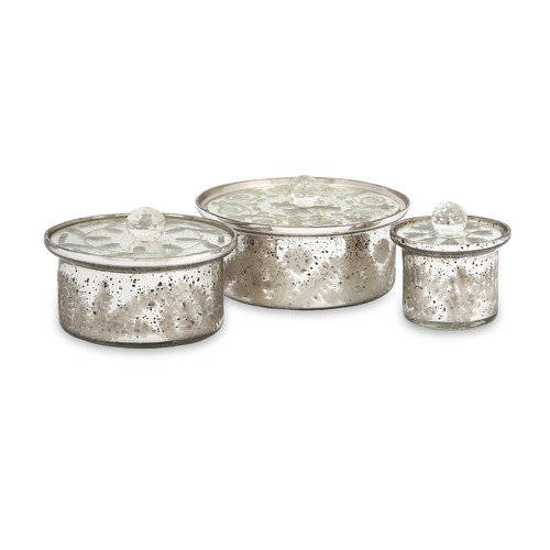 Wildon Home   Dalena Etched Glass Round Boxes with Lids (Set of 3)