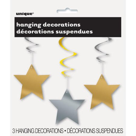 "Party Hanging Swirl Star Decorations 26"" 3Pcs - image 1 de 2"