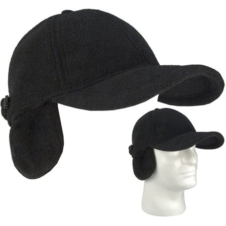 Rothco - Black Low Profile Fleece Baseball Hat Cap w Ear Flaps Earmuffs  Covers Fits All - Walmart.com d2309e3490a