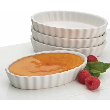 BonJour 4-oz Creme Brulee Ramekins, Set of 4, Oval Shaped, -