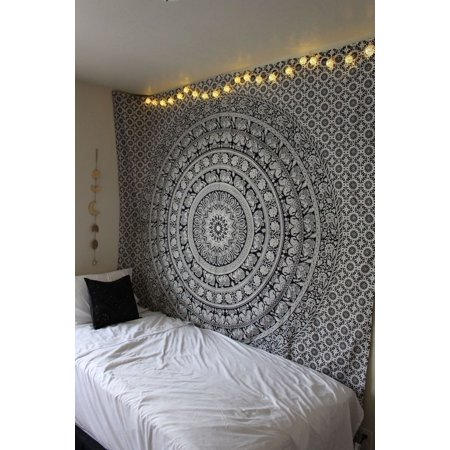 - Mandala Tapestry Wall Hanging,Meigar Tapestry Wall Hanging Black & White Elephant Mandala Hippie Hippy Tapestries Twin Indian Throw Beach College Dorm Bohemian Boho Bedsheet
