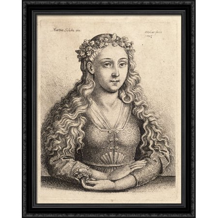 Woman with a wreath of oak leaves 28x36 Large Black Ornate Wood Framed Canvas Art by Martin Schongauer