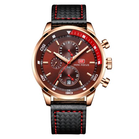 Mens Quartz Watch Brown Face Leather Band 3 Multifunction Dials Show Date for Friends Lovers Best Holiday Gift