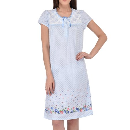Women's Cotton Short Sleeve Nightgown by EZI Cotton Short Sleeve Gown