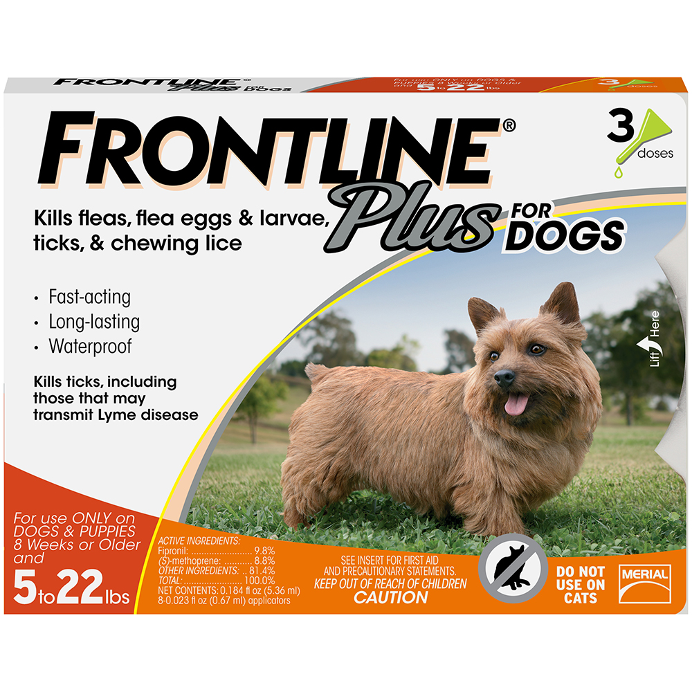 FRONTLINE Plus for Dogs Small Dog (5-22 pounds) Flea and Tick Treatment, 3 Monthly Treatments