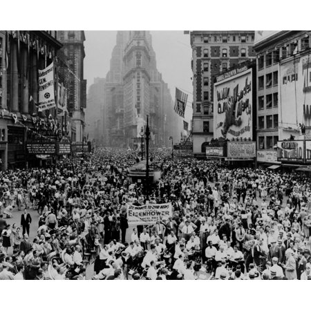 Throng Of Eisenhower Supporters Converge On Times Square After His Homecoming Parade June 19 History - Halloween Parade Times Square