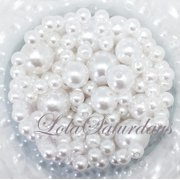 LolaSaturdays Assorted Pearls 1-Lbs loose beads vase filler- White