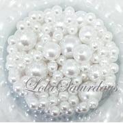 LolaSaturdays Assorted Pearls 1-Lbs loose beads vase filler- White