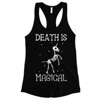 Death is Megical Unicorn Skeleton Funny Halloween Womens Black Tank Top
