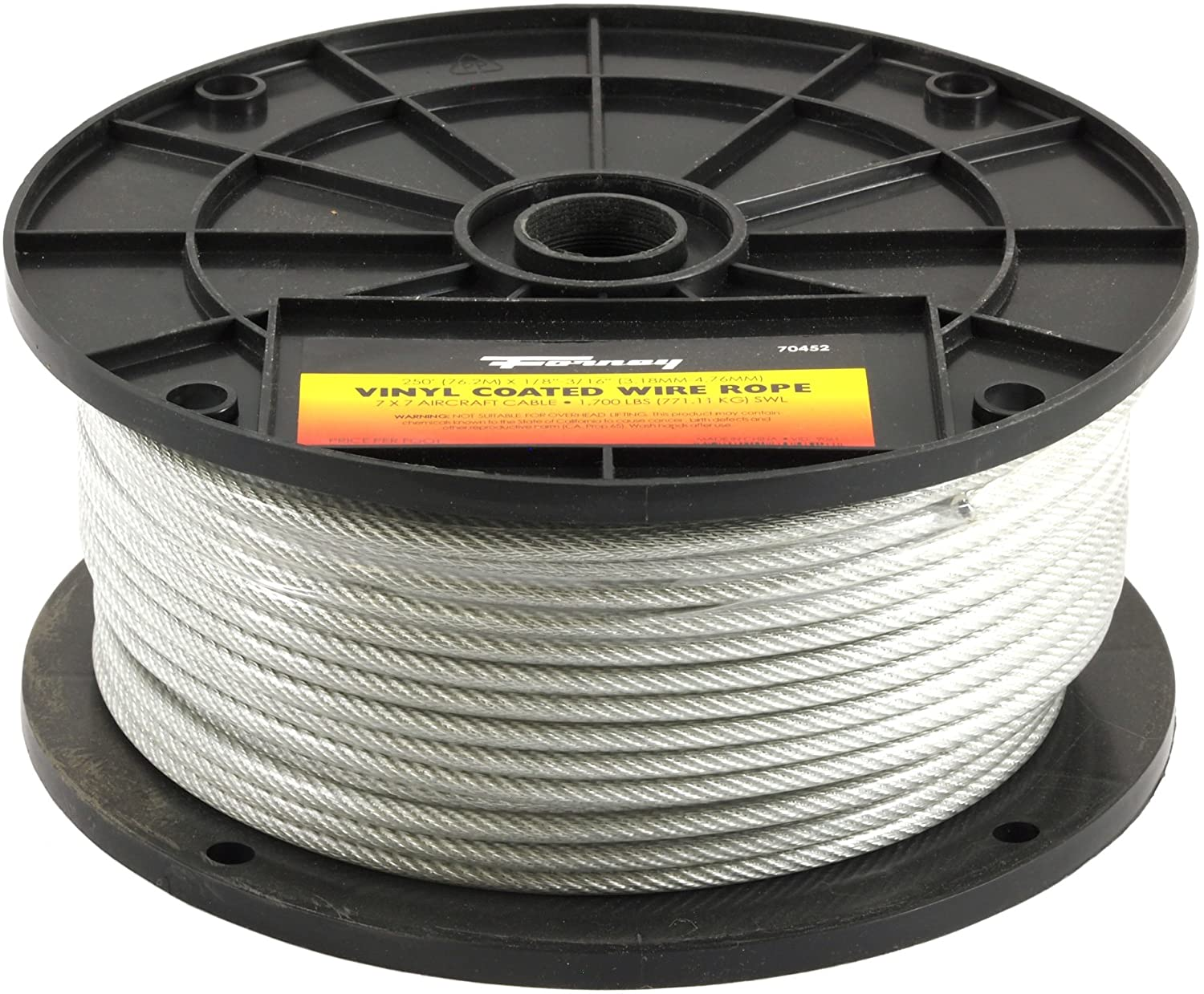 Wire Rope 250-Feet-by-1//8-Inch thru 3//16-Inch Vinyl Coated Aircraft Cable