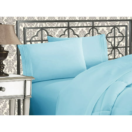 1500 Thread Count Egyptian Quality Bedding Collection Deep Pocket, Wrinkle & Fade Resistant,Queen Aqua Blue