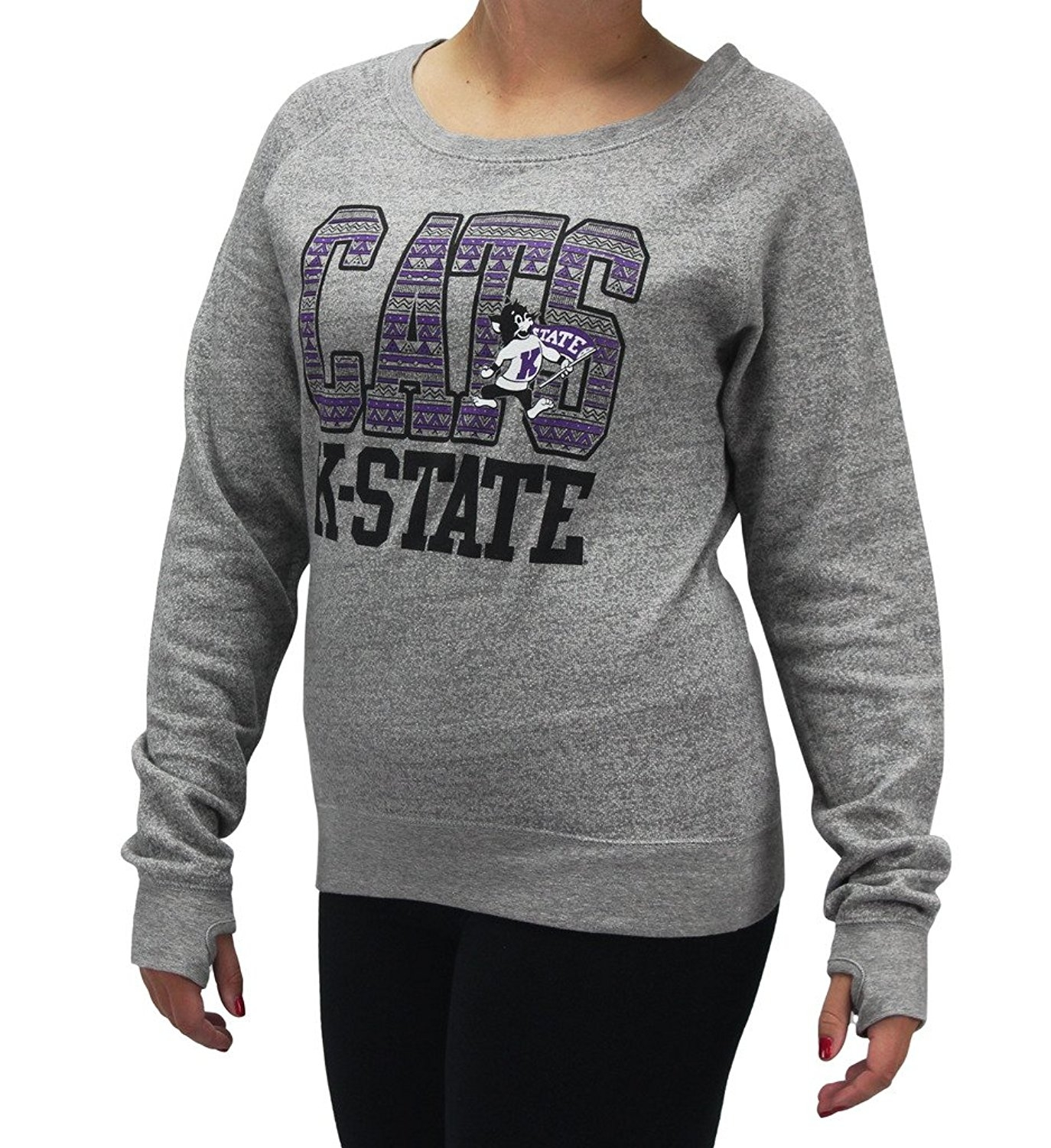 Pressbox Women' s Kansas Wildcats Grey Aztec Sweater Shirt