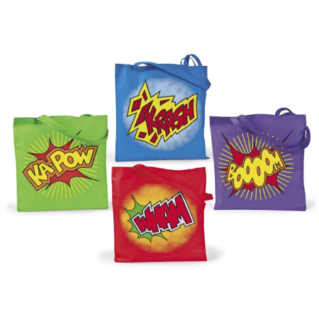 Superhero Birthday Party Games (Super Hero Tote Bags, Set of 10, Fun Party)