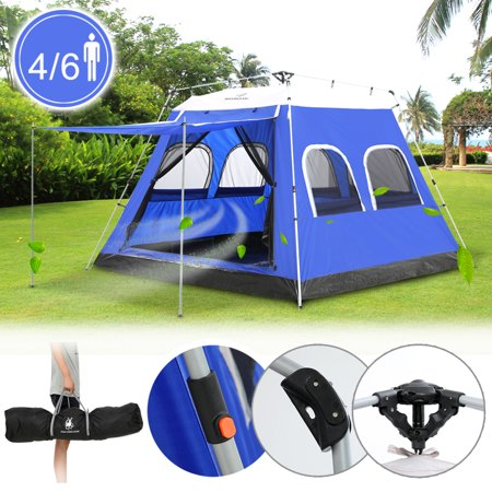 4-6 Person 4-Season Water-Resistant Automatic Big Privacy Dome Tent,iClover Pop Up Camping Tent Cabin Dome with Awning & Poles for Winter Backpacking Picnic Blue for $<!---->