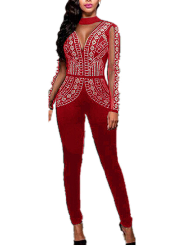 Women Long Sleeved Sequins Skinny Bodysuit Long Party Jumpsuit