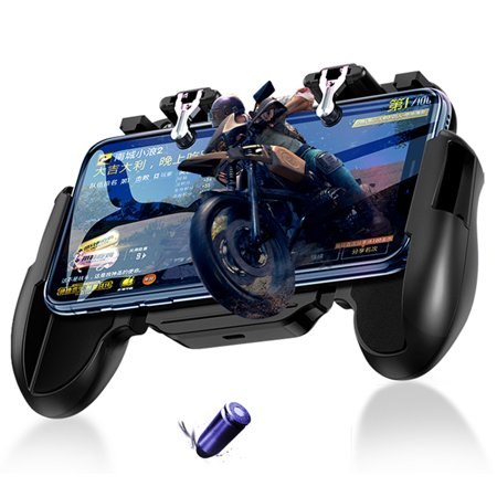 Mobile Controller with Portable Charger Cooling Fan, PUBG Mobile Game Controller L1R1 Mobile Trigger Joystick for 4-6.3
