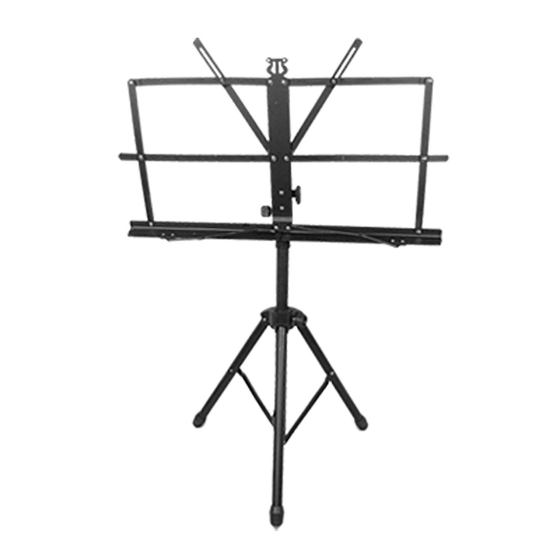 Unique Bargains Adjustable Folding 3-Section Shaft Music Stand Gear Black