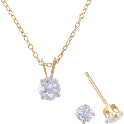 Girls' Clear Round CZ Set - 18kt Gold Over Sterling Silver Stud Earrings and Pendant