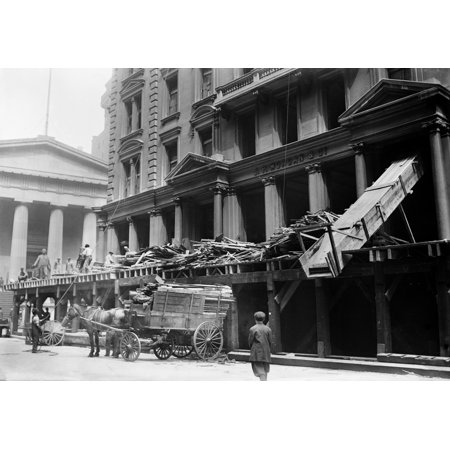 Nyc Wall Street 1913 Ndemolition Of The Jp Morgan Bank At 23 Wall Street In New York City Photograph May 1913 Rolled Canvas Art     18 X 24