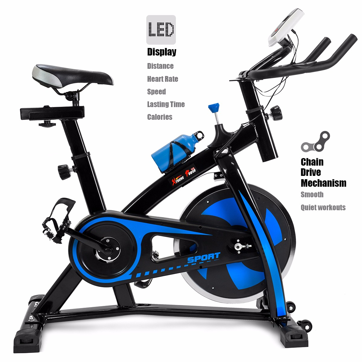 XtremepowerUS Exercise Bike Stationary Cycling Cardio Workout Fitness LED Screen Blue