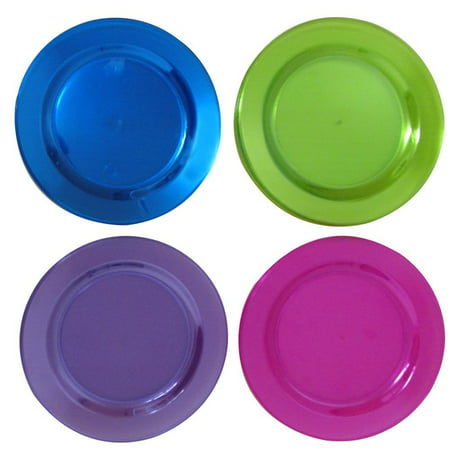 40 6 Inch Round Neon Colored Party Plates. Bright Colored Dessert Party Plates Come In Assorted Neon Colors, Pink, Purple, Green, And, Blue. Disposable Plastic Party Favor Plates.