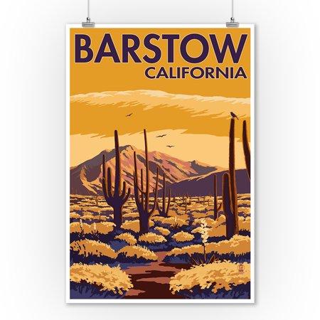 Barstow, California - Desert Scene with Cactus - Lantern Press Artwork (9x12 Art Print, Wall Decor Travel Poster)](Desert Scenes)