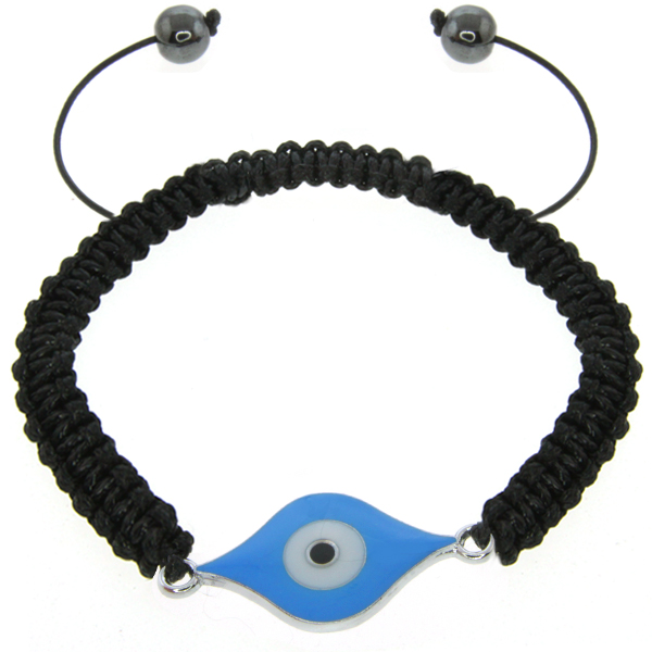 "Stunning 8"" Adjustable Blue Color Evil Eye Inspired Bracelet"