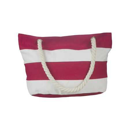 Beach Bag Large Shoulder Canvas Tote With Zipper Rope Handles Inner Pocket