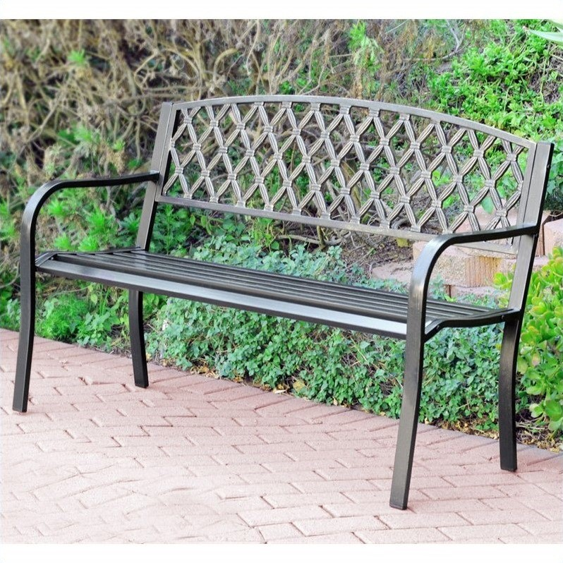 """Pemberly Row 50""""W Crossweave Curved Back Steel Park Bench in Black and Gold"""