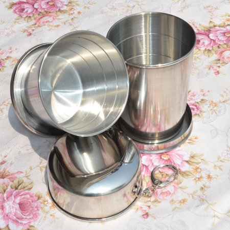 Stainless Steel Portable Camping Folding Collapsible Cup Metal Telescopic Keychain 75ml Color:4.0