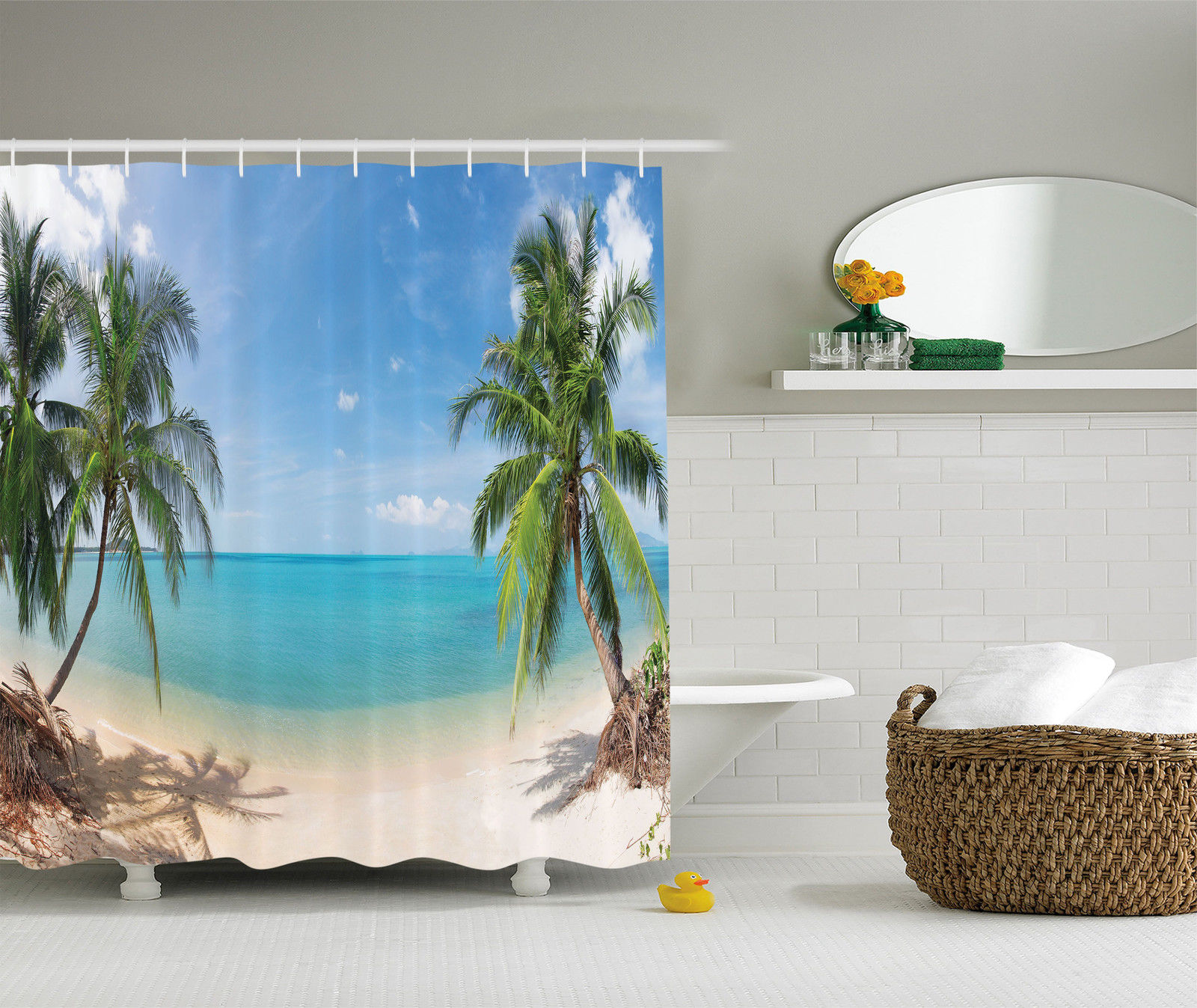 Ocean Decor Shower Curtain Set, Panoramic Tropical Beach Exotic Sand  Vacations, Bathroom Accessories,