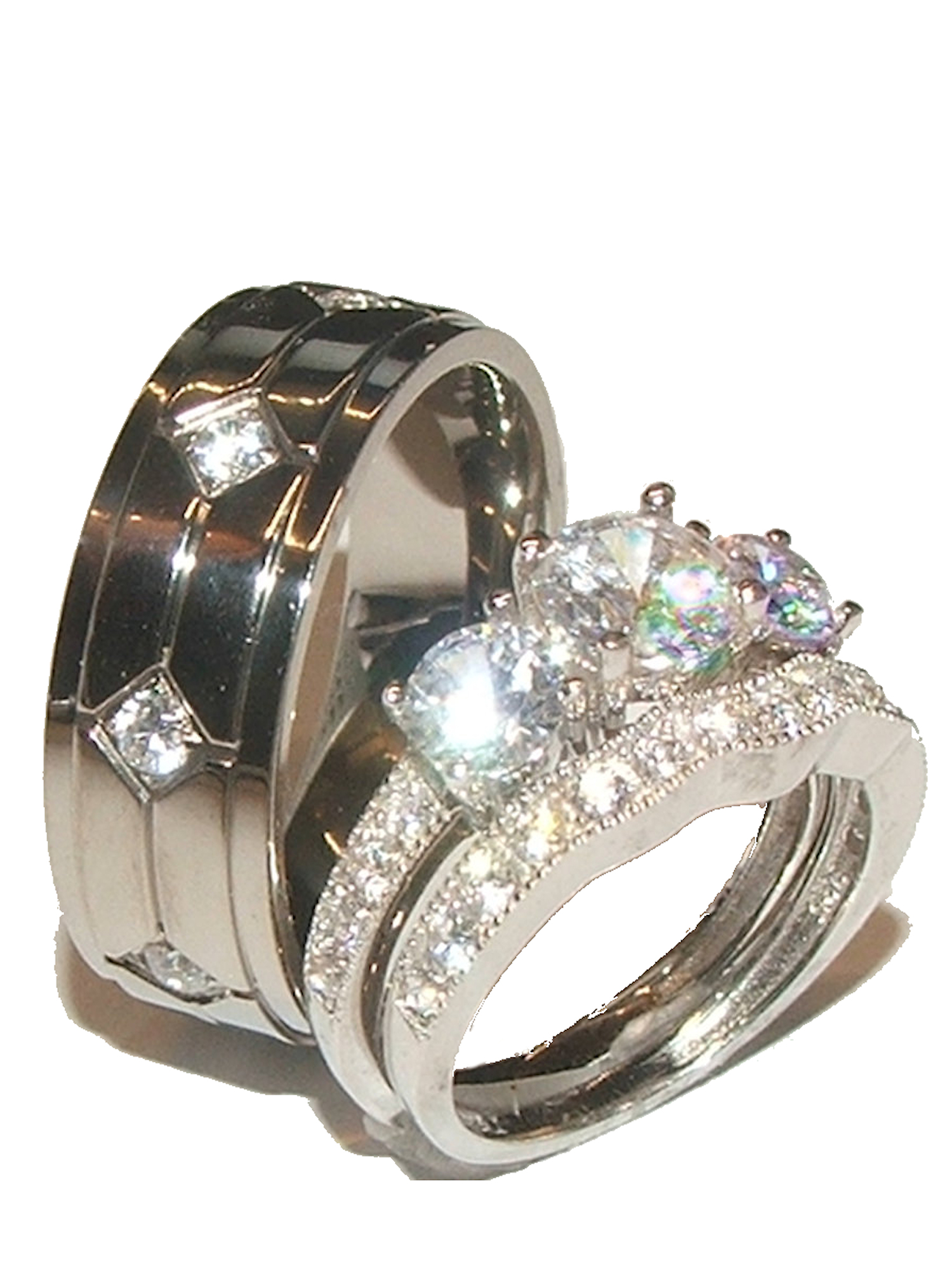 His & Hers 3 Stone Cz Wedding Engagement Ring Set Sterling Silver & Titanium