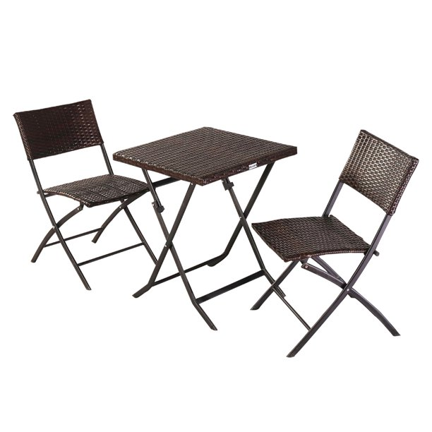 Urhomepro Patio Dining Sets 3 Piece Rattan Bistro Patio Set Wicker Outdoor Patio Furniture Sets With Folding Chair And Table Outdoor Conversation Sets For Backyards Porches Garden Brown W12276 Walmart Com