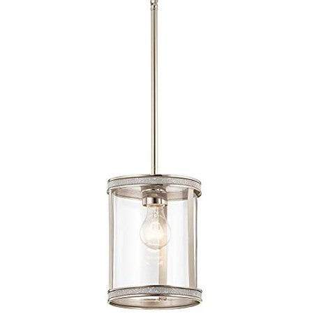 Kichler Angelica Industrial Hardwired Mini Clear Glass Cylinder Pendant - Nickel