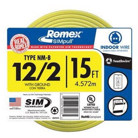 28828226 15 Feet 12 Gauge Indoor Building Wire 2 Conductors With Ground Type Nm B Romex Simpull Yellow Outer Jacketreal Made In The By