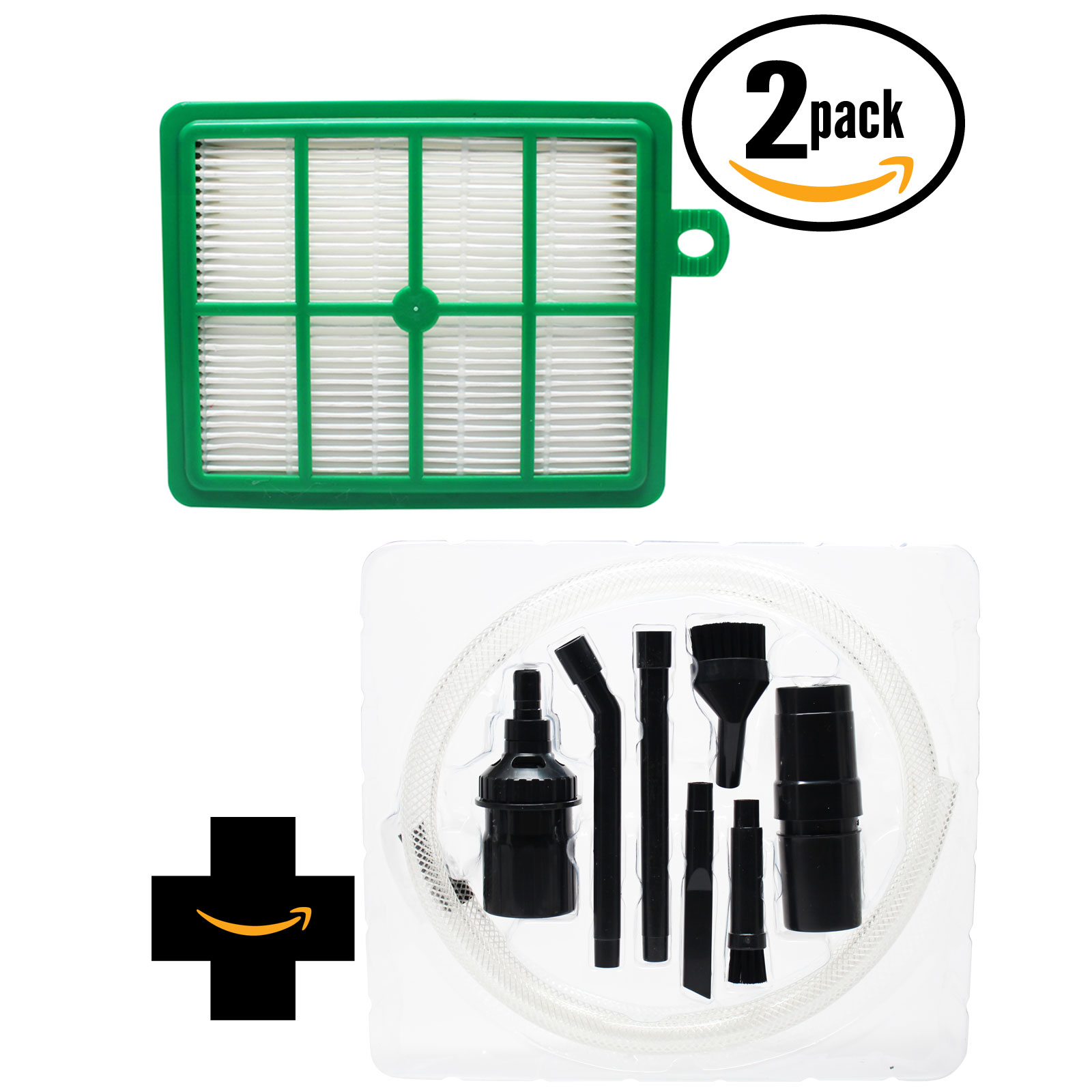 2-Pack Replacement Electrolux EL4300A Vacuum HEPA Filter with 7-Piece Micro Vacuum Attachment Kit - Compatible Electrolux EL012B HEPA Filter