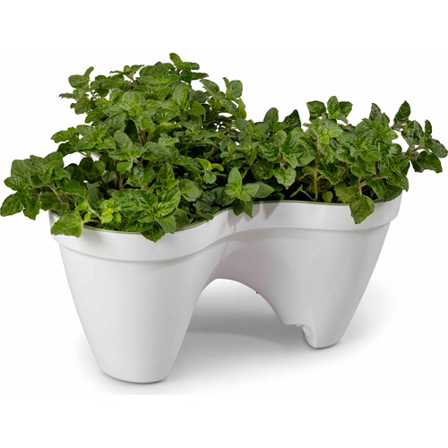 Keter Plastic Ivy Resin Planter, Stackable, White/Green, Single Unit