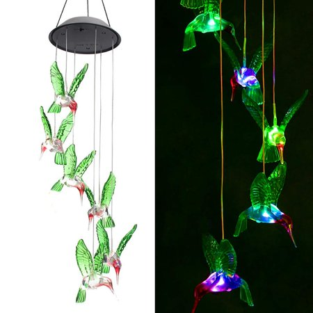 Color-Changing LED 6 Hummingbird Solar Wind Chimes Yard Home Garden Decor