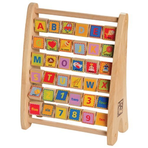 Wooden Alphabet Abacus - Double Sided Educational Toy for Letter Recognition..., By Constructive Playthings Ship from US
