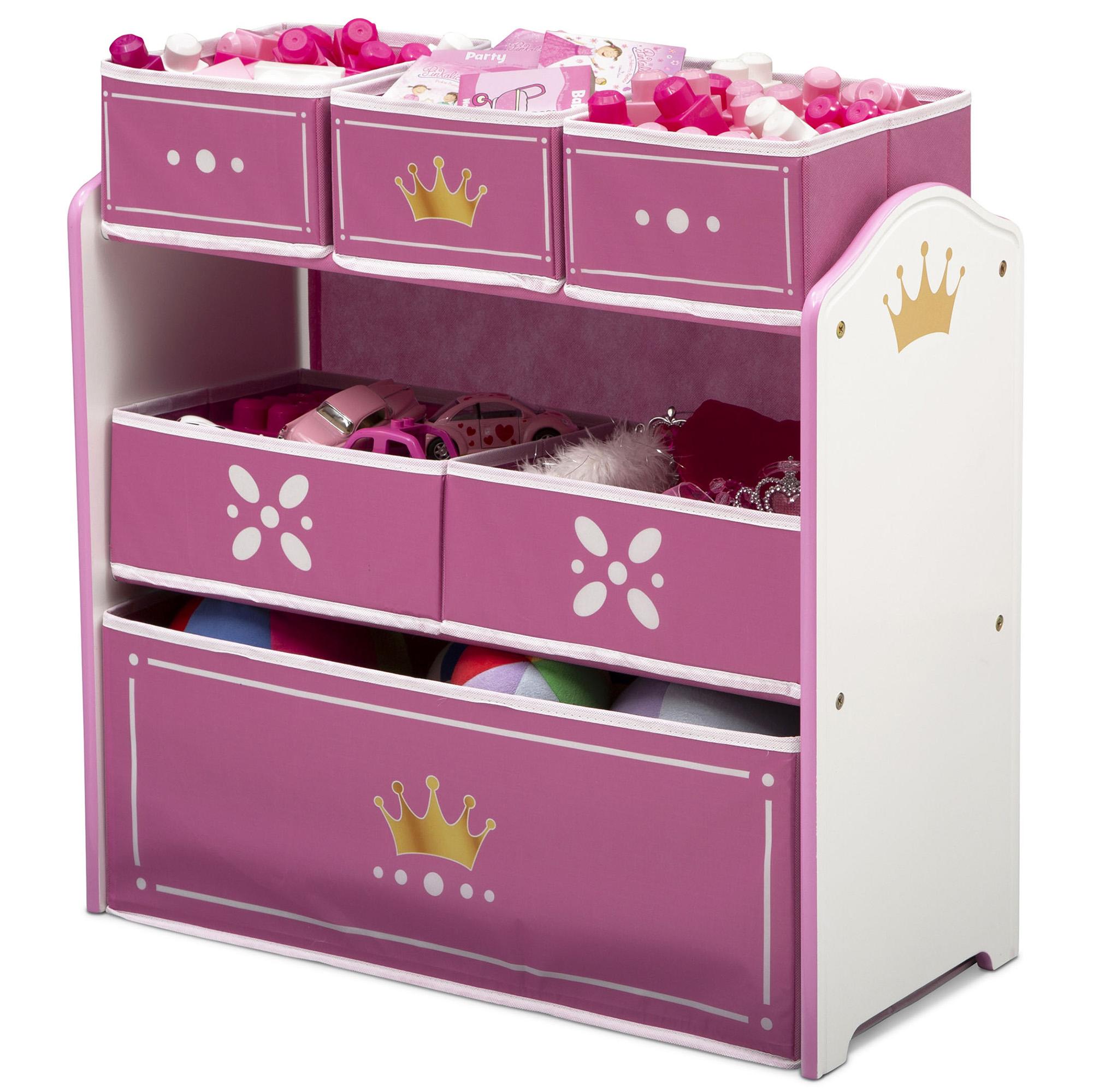 Delta Children Princess Crown Multi-Bin Toy Organizer, White/Pink