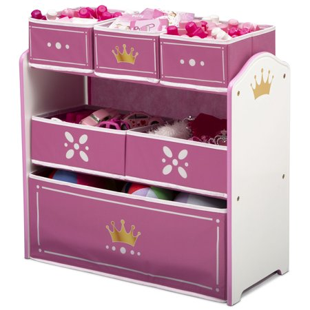 Delta Children Princess Crown Multi-Bin Toy Organizer, White/Pink