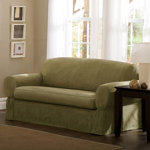 Maytex Piped Faux Suede Non-Stretch 2 Piece Loveseat Furniture Cover Slipcover, Sage Green
