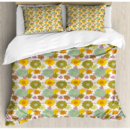 Flower King Size Duvet Cover Set, Retro Colored Big and Small Blossoms Ornamental Fresh Nature Country Cottage Pattern, Decorative 3 Piece Bedding Set with 2 Pillow Shams, Multicolor, by - Country Cottage Blossoms