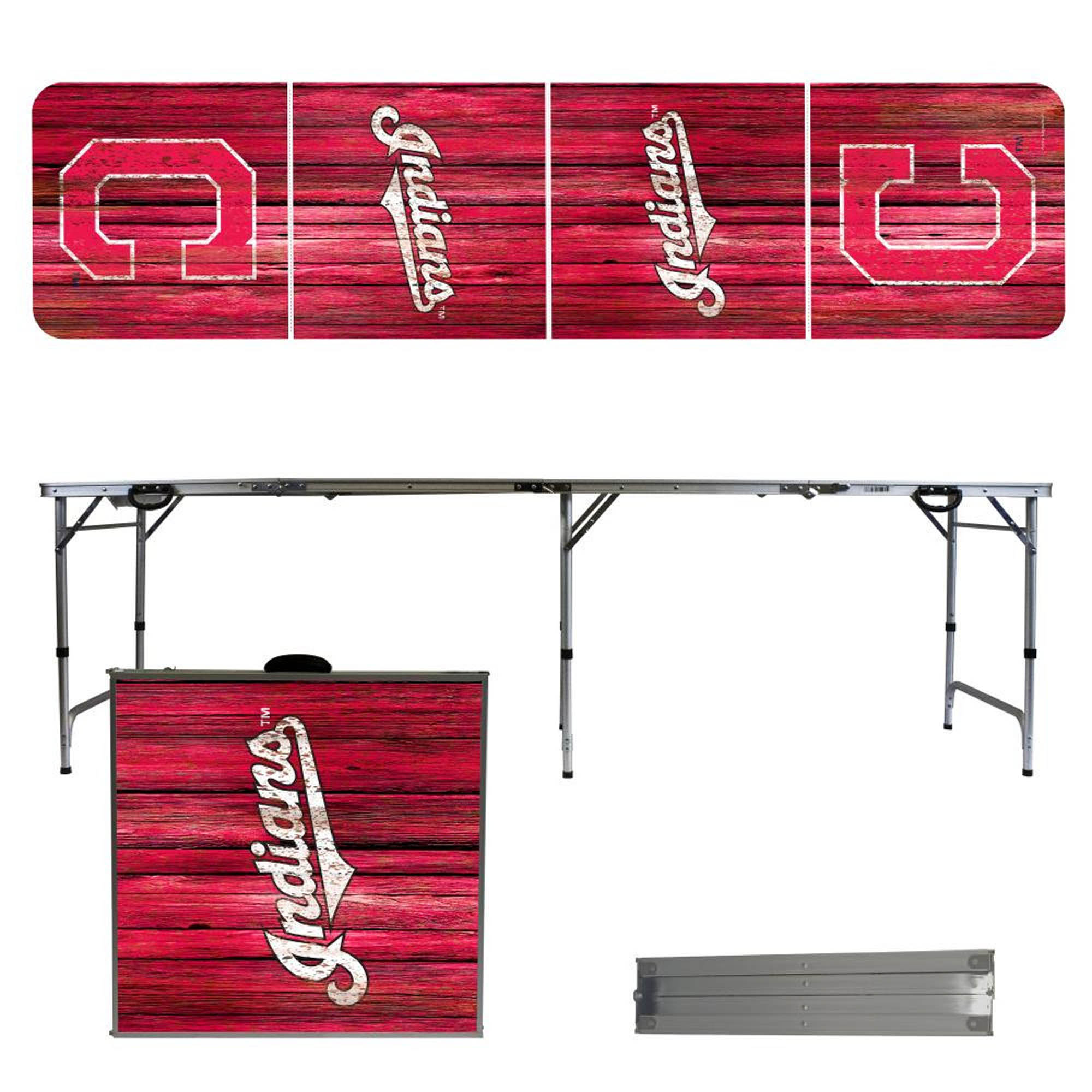 Cleveland Indians Weathered Design 8' Portable Folding Tailgate Table - No Size