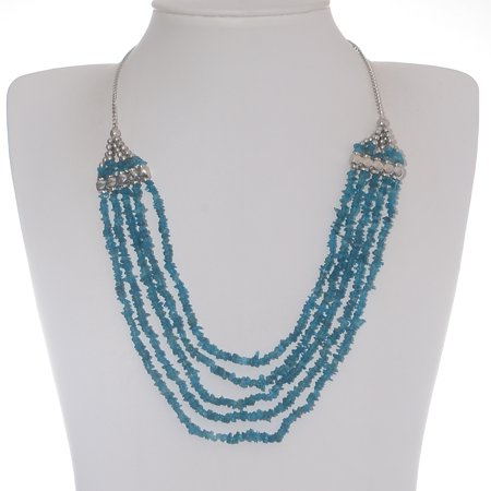 Neon Apatite Platinum Plated Silver Blue Multi Strand Necklace for Women 20