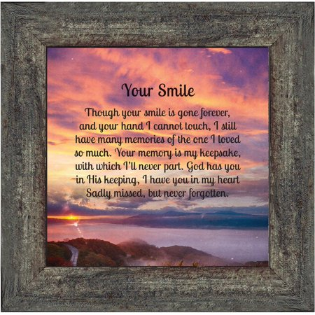 Your Smile, Sympathy or Condolence Gifts, In Memory of a Loved One Framed Poem, 10x10 8658