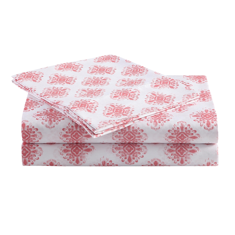 Peach & Oak Summer Ikat Bedding, Microfiber, Queen 4-Piece Sheet Set, Multi